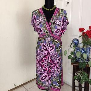 AB Studio Purple Floral Midi Dress (size XL)
